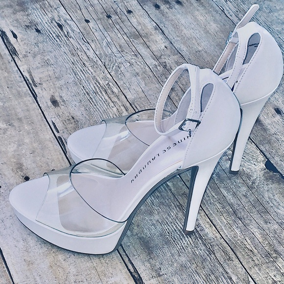 c7ec1707726   NWT Chinese Laundry White   Clear Sandal Heel